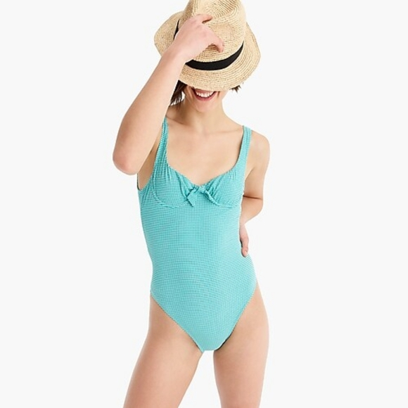 J. Crew Other - NWT J. Crew Emerald Green Gingham Swimsuit